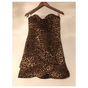 Lanvin Leopard Strapless Ruffled Cocktail Dress